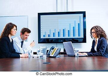 empresa / negocio, reunión, tabla, habitación