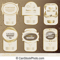 Retro white gold label - Retro gold labelcan be used for...