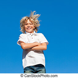 Kid Jumping in the air - Young Kid Jumping in the air