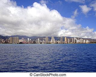 オアフ,  waikiki, 浜, 海岸線, ハワイ \