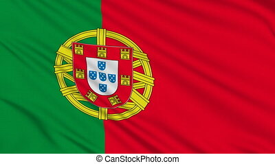 Portuguese flag, with real structure of a fabric