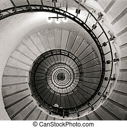 Spiral staircase inside the Eckmühl lighthouse, black and...