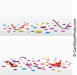 celebration confetti set on white - Vector Illustration of...
