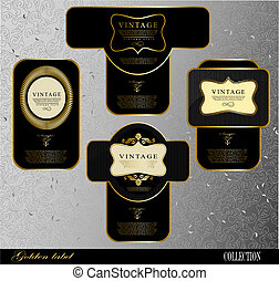 black gold labels - Retro black gold labelcan be used for...