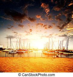 Yachts and marina - Yachts and pier at dusk