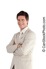 Businessman with Folded arms Isolated against white - Young...
