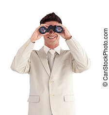 Man looking straight ahead through a binnoculars -...