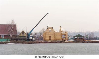Home construction - Construction of the wooden house from...