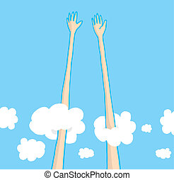 Sky high five above the clouds - Cartoon illustration of...