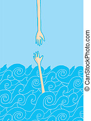 Drowning man reaching out hand