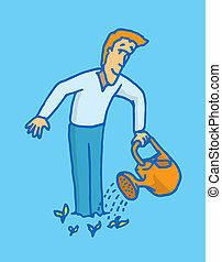 Guy self watering to grow - Cartoon illustration of a man...