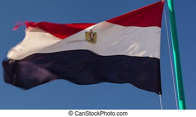Egyptian flag fluttering in the wind - Close-up shot of a...