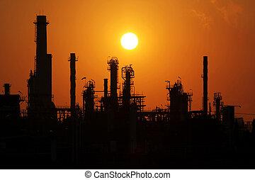 aceite, refinería, salida del sol