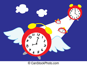 Time flies - A clock with wings representing time flies