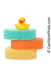 Three sponges and rubber duck - A three sponges and rubber...