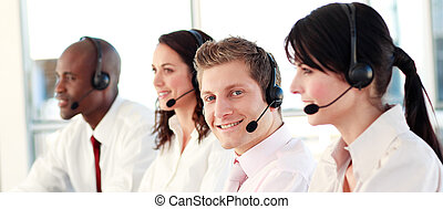 Potrait of a business team - Business people working in an...