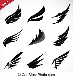 Vector black wing icons set on white background