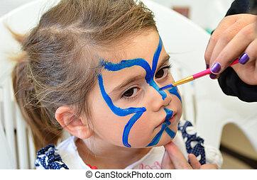 niño, cara, Pintura