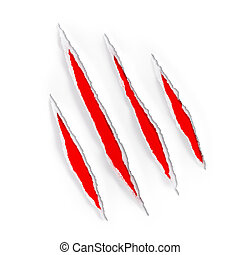 animal claw scratches marks on paper isolated