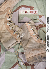 Combat boots and Air Force uniform - Old combat boots...