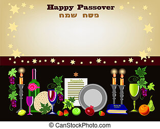 passover brown - decorative passover card with objects of...