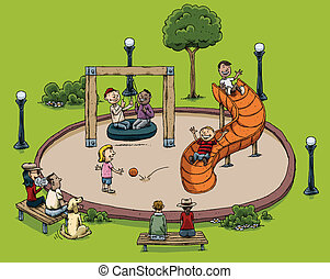 Park Playground  - A cartoon park with children playing.