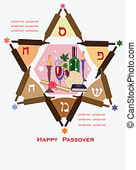 passover holiday background - abstract david star with...