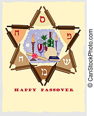 passover ,jewish star with objects. - passover,decorative...