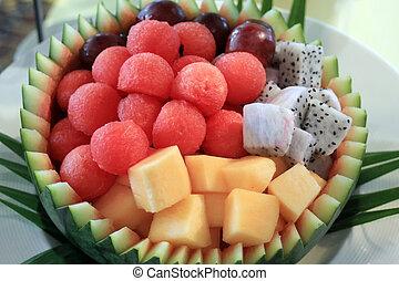 mixed fruit - closeup of peeled mixed fruit