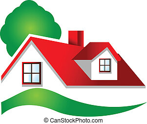 Real estate house logo - Real estate house and tree logo...