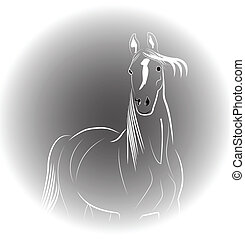 Horse portrait logo - Horse portrait icon vector