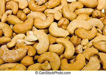 Salty Roasted Cashews - A close up of Fresh roasted salted...