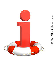 Information - Lifebuoy and red information symbol