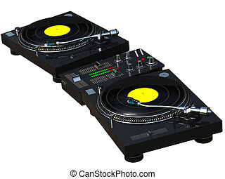 DJ mixing set - 3D rendering DJ mixing set isolated on white...