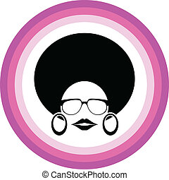 afro woman symbol vector - afro woman symbol with pink...