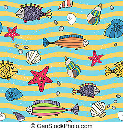 Seamless pattern of sea life on the seashore - Seamless...
