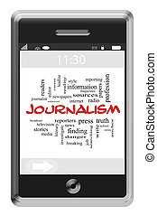 Journalsim Word Cloud Concept on Touchscreen Phone
