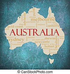 Blue Grunge Australia word cloud - A map of Australia on a...