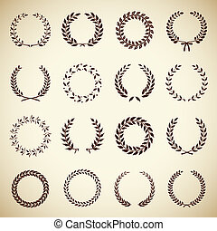 Collection of vintage laurel wreaths - Collection of sixteen...
