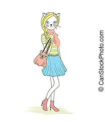 Cute anthropomorphic fashion kitten with a cat head and...