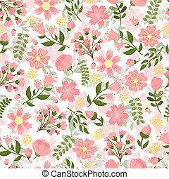 Seamless spring floral background with a dense pattern of...
