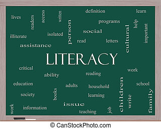 黒板, 概念, 単語, 雲, 読み書き能力