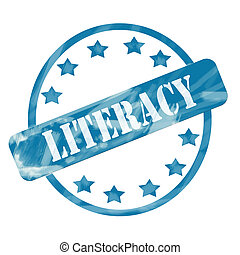 Blue Weathered Literacy Stamp Circle and Stars - A blue ink...