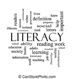 Literacy Word Cloud Concept in black and white with great...