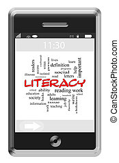 Literacy Word Cloud Concept on Touchscreen Phone - Literacy...