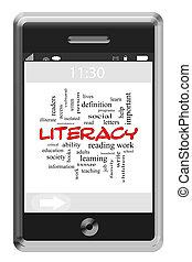 Alfabetismo, palabra, nube, concepto, Touchscreen,...