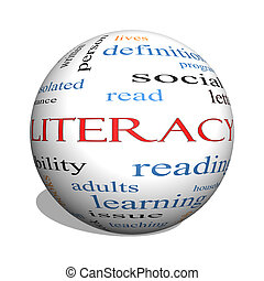 Literacy 3D sphere Word Cloud Concept with great terms such...
