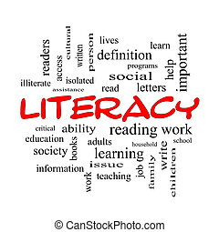 Literacy Word Cloud Concept in red caps with great terms...