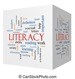 Literacy 3D cube Word Cloud Concept with great terms such as...