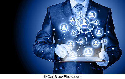 Business man using tablet PC social connection - Business...